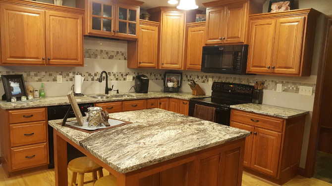 Pewter Mist Granite Tops in Kitchen Remodel