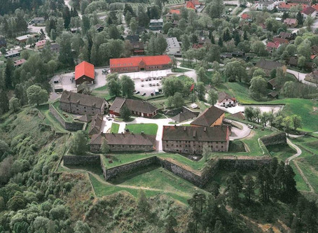 "Kongsberg Fortress in the old arms hall with an exhibition for ""Stop the Violence"""