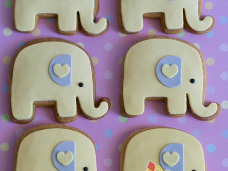 Elephant Cookies for Baby Shower