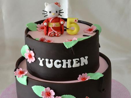 Hello Kitty Cake in Cherry Blossom Theme for Yuchen