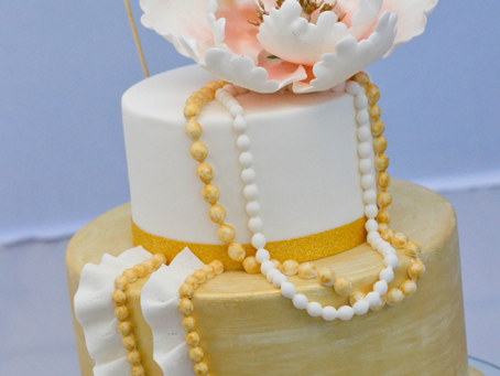Ruffles, Beads & Peony Cake for Mum's 60th Bday
