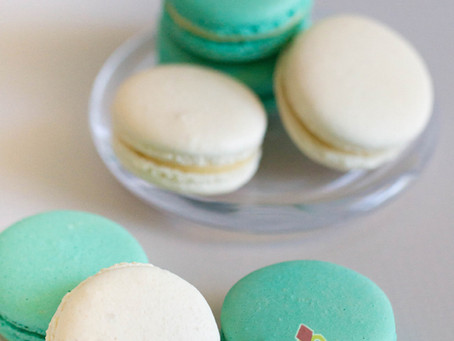 White & Aqua Green Macarons