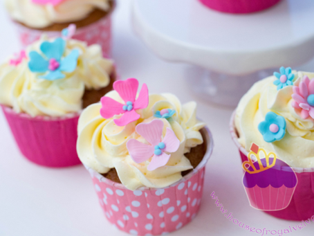 Pink & Aqua Flower Cupcakes for Angela