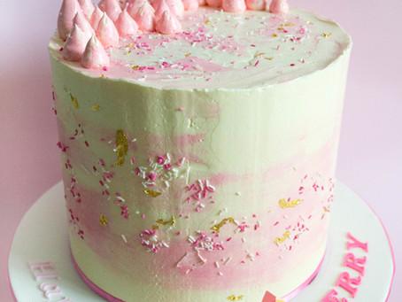 Pink & White Buttercream Cake for Sherry