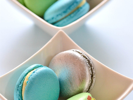 Blue Green Silver Macarons