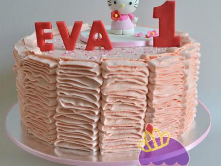 Hello Kitty Ruffled Buttercream Cake for Eva