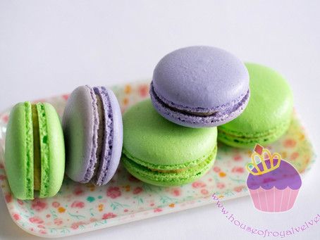 Purple and Green Macarons for Baby Shower