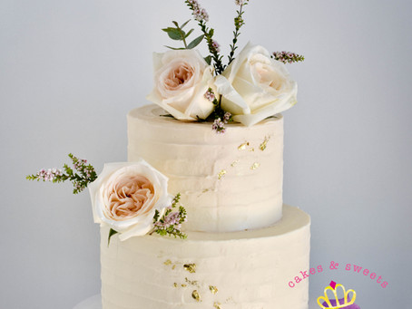 White Wedding Cake with Stripe Texture