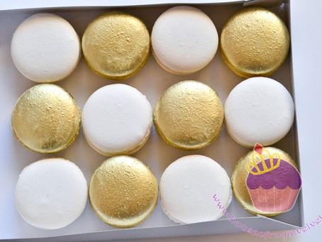 White & Gold Macarons