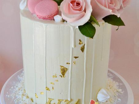 White Drip Cake for Liza's 70th Birthday