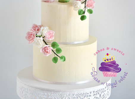 Wedding Cake with Birds & Sugar Flowers