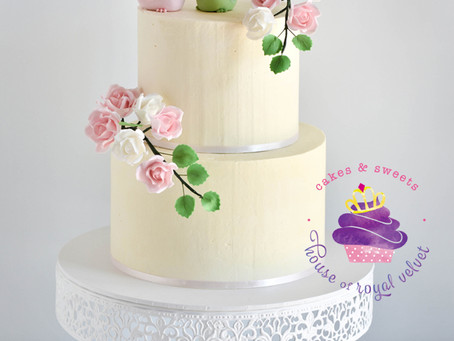 Wedding Cake with Birds & Sugar Flowers
