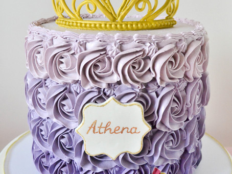 Purple Rosette Cake with Gold Tiara for Athena