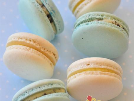 Blue & White Macarons for Lucas' Full Moon