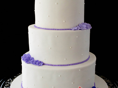Wedding Cake with 3 Purple Flower Shades for Sarah