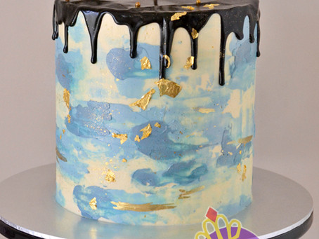 Blue black gold cake for Desmond