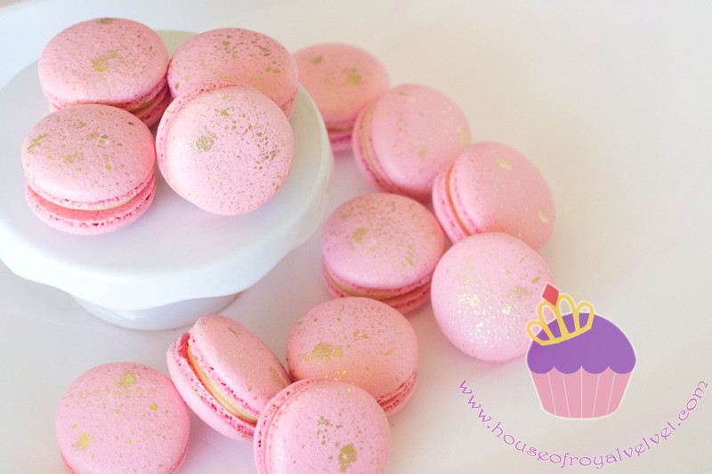 pink and gold macarons