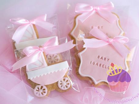 Pram & Plaque Baby Shower Cookies