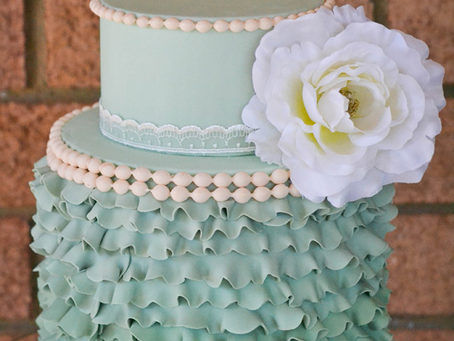 Ruffled Cake in Sage Green for a Dessert Table Photoshoot