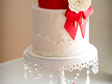 Wedding Cake with Red Bow & a Rose for Elaine & William