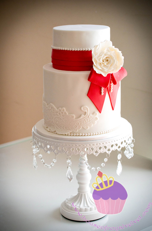 Wedding Cake With Red Bow A Rose For Elaine William