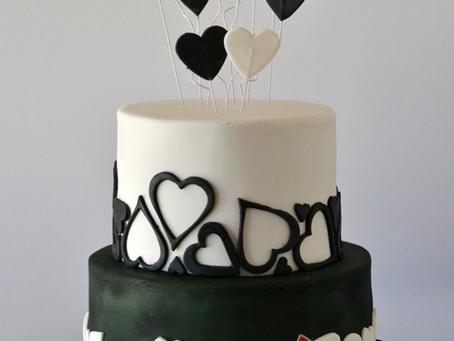 Black & White Hearts Wedding Cake