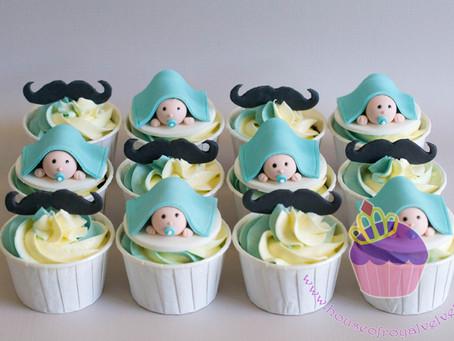 Baby & Mustache Cupcakes