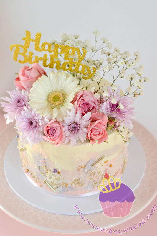 cake with fresh flowers