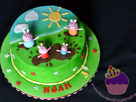 Peppa Pig & Family Jumping in Muddy Puddles Cake for Noah