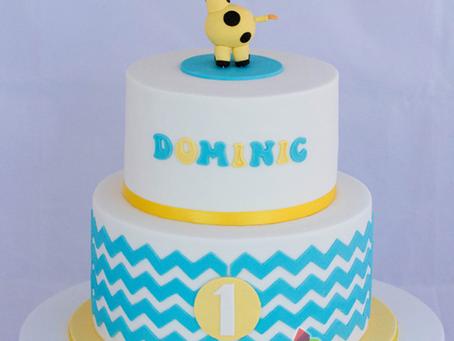 Chevron Cake with a Giraffe Topper for Dominic