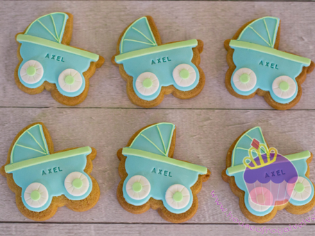 Pram Cookies for Axel's Baby Shower
