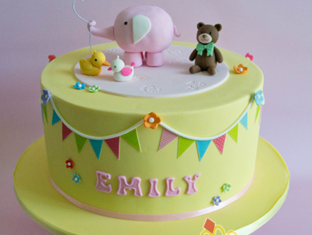 Elephant Cake with Bunting for Emily