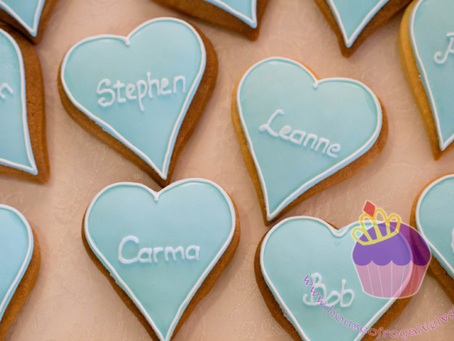 Customised Heart Cookies for Kirsty's Wedding