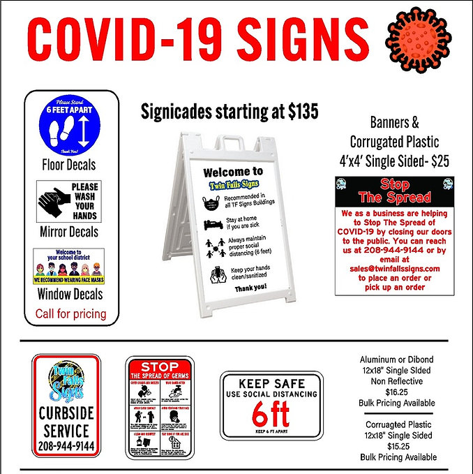 COVID 19 Custom made signs for Business