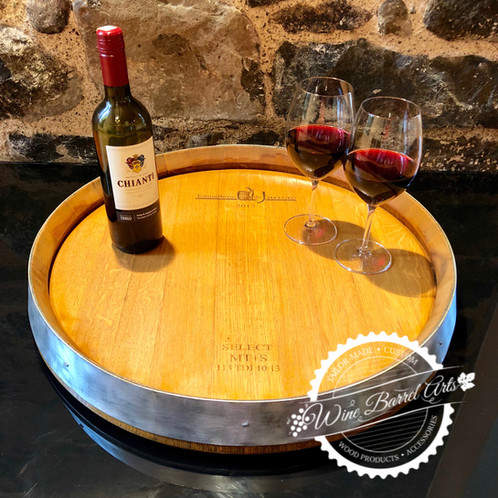 Lazy Susan Made From Oak Wine Barrel Top
