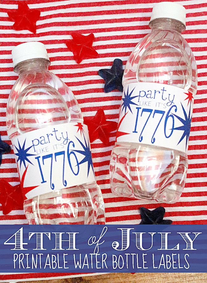 4th of July Printable Water Bottle Labels