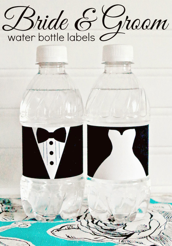 Bride & Groom Water Bottle Labels