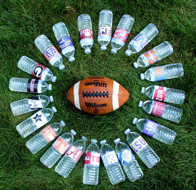 College Football Printable Water Bottle Labels