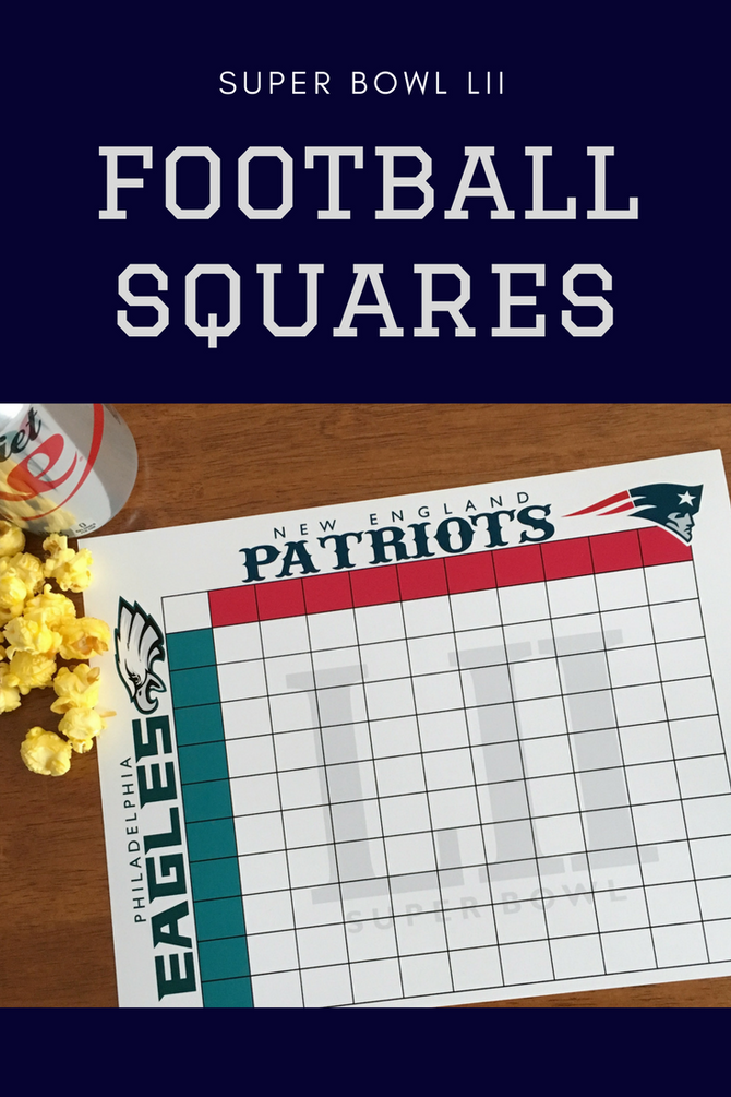 Printable Super Bowl LII Squares