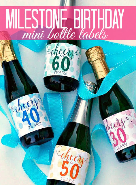 Cheers to Years Mini Bottle Labels