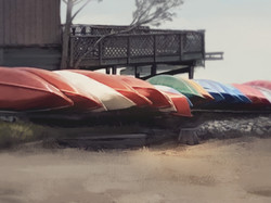 Painting of Camp Canoes
