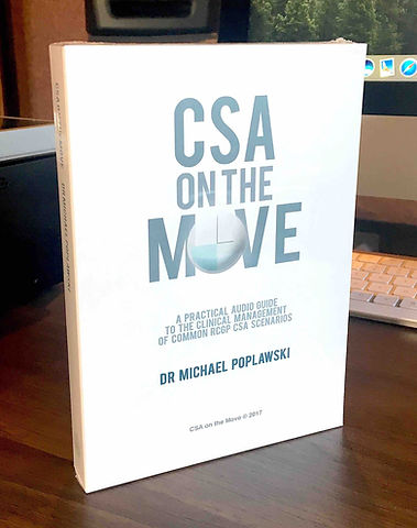 Go CSA on the move 1st edition medical audiobook on desk with apple imac and music speakers