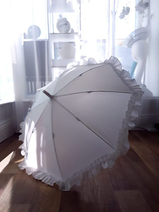 Kids White Frill Umbrella