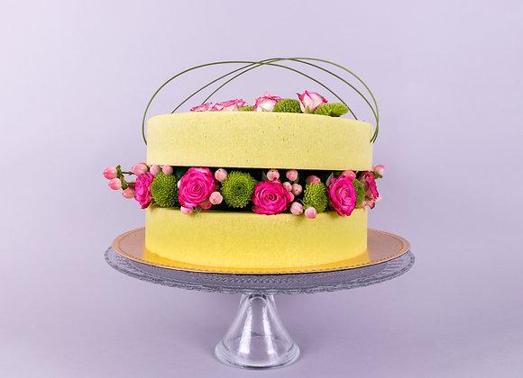 Gâteau floral pistache