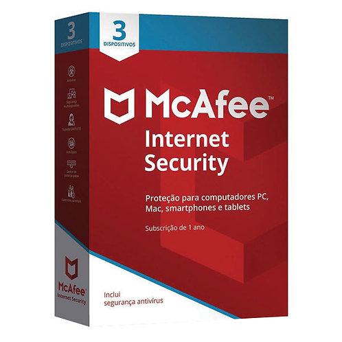 MCAFEE INTERNET SECURITY 2020 1 ANO 3 DISPOSITIVOS CAIXA