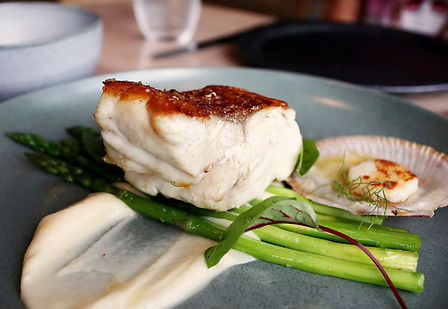 Grilled fish and scallop with asparagus