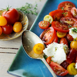 Close up of fresh caprese salad with her