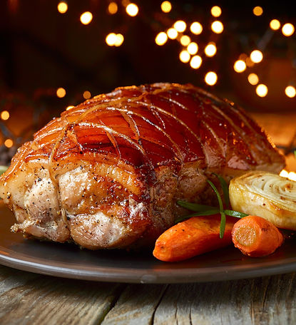 roasted pork and vegetables on Christmas