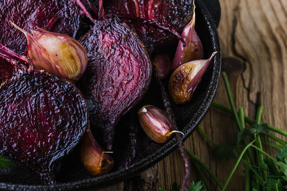 Homegrown roasted beets and garlic in ca