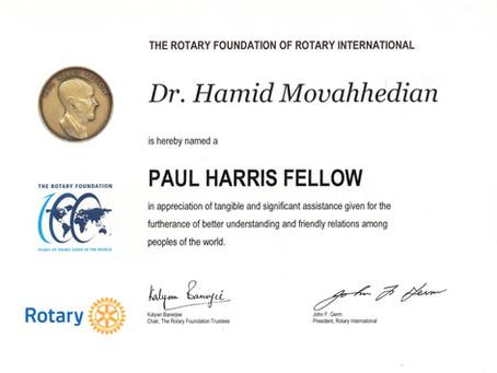 Dr. Movahhedian receives Paul Harris Award